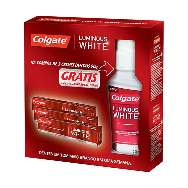 Kit Creme Dental Colgate Luminous Com 3 Unidades Enxaguante Bucal 250ml